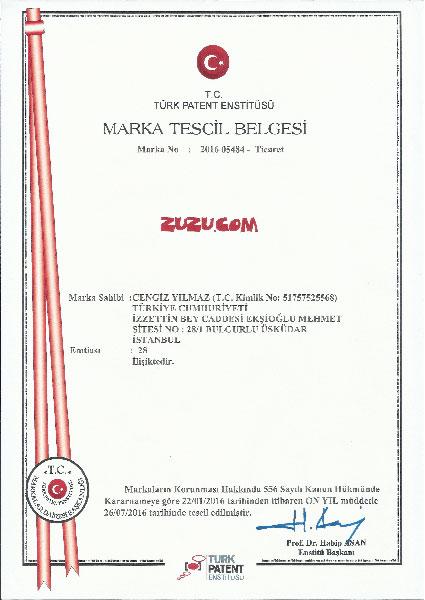 zuzu.com Marka Tescil Belgesi
