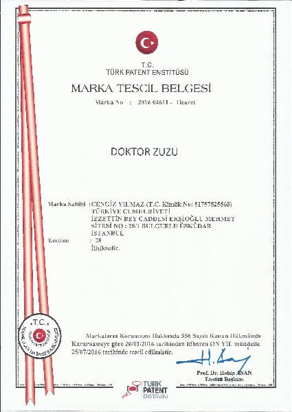 Doktor Zuzu Marka Tescil Belgesi